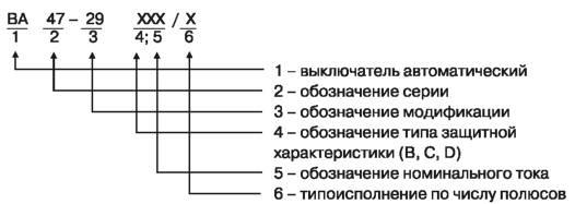 Структура условного обозначения выключателей